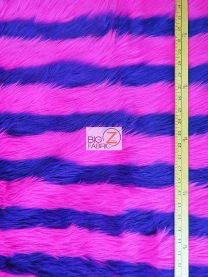 Faux Fake Fur 2 Two Tone Striped Long Pile Fabric / Purple/Pink / Sold By The Yard