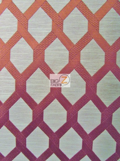 2 Tone Lattice Drapery Polyester Fabric / Ruby / Sold By The Yard