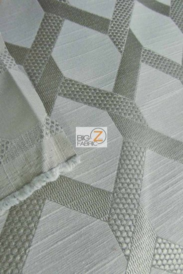 2 Tone Lattice Drapery Polyester Fabric / Silver / Sold By The Yard