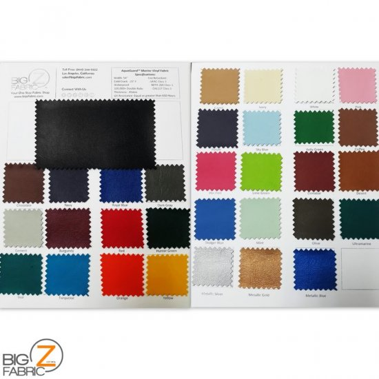 AquaGuardTM Marine Vinyl - Auto/Boat - Upholstery Fabric - Big Z Color Card