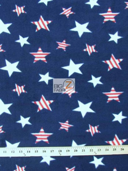Fleece Printed Fabric American / American Stars / Sold By The Yard