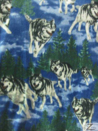 Fleece Printed Fabric Animal Wolf / Arctic Wolf / Sold By The Yard