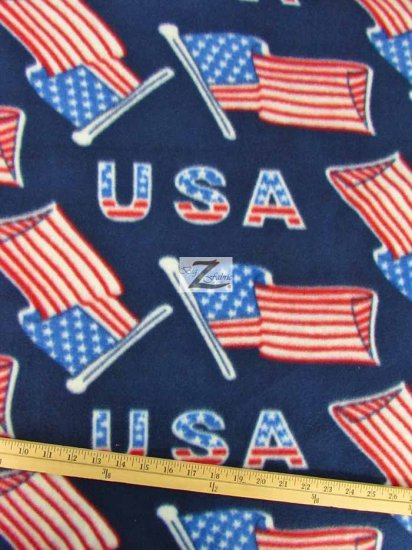 Fleece Printed Fabric American / USA Flags / Sold By The Yard