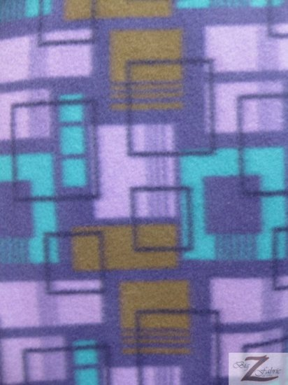 Fleece Printed Fabric Squares / Purple Squares (Licensed) / Sold By The Yard