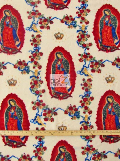 Fleece Printed Fabric Virgin Mary / Virgin Mary / Sold By The Yard