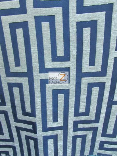 Abstract Trillium Maze Upholstery Fabric / Navy Blue / Sold By The Yard