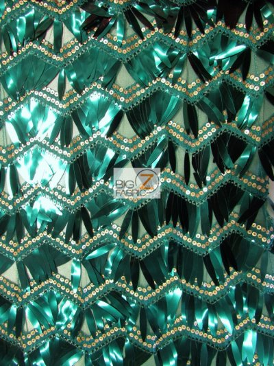 Mardi Gras Carnival Spike Sequins Mesh Fabric / Hunter Green / Sold By The Yard Closeout!!!