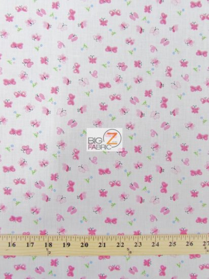Poly Cotton Printed Fabric Butterfly / Pink / Sold By The Yard