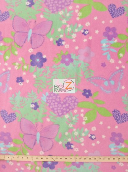 Fleece Printed Fabric Butterfly / Butterfly Love / Sold By The Yard
