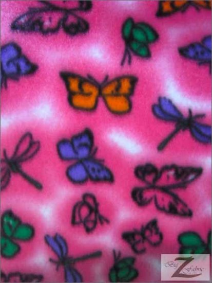Fleece Printed Fabric Butterfly / Pink Butterflies / Sold By The Yard