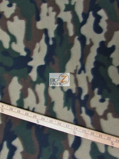 Fleece Printed Fabric Army Camouflage / Army / Sold By The Yard
