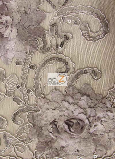 Cherry Blossom 3D Dress Lace Fabric / Charcoal / Sold By The Yard Closeout!!!