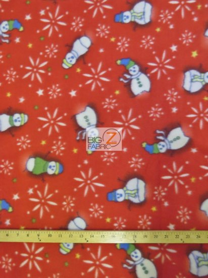 Fleece Printed Fabric Christmas Holiday / Snowman Red / Sold By The Yard