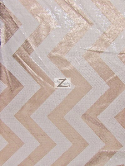 Chevron Zig Zag Sequins Taffeta Fabric / Dusty Rose/White / Sold By the Yard Closeout!!!