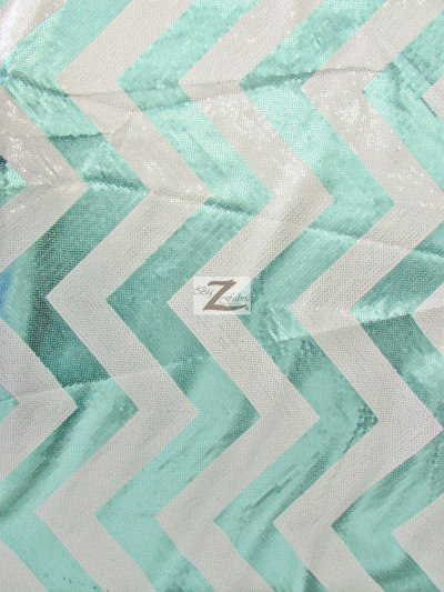 Chevron Zig Zag Sequins Taffeta Fabric / Turquoise/White / Sold By the Yard Closeout!!!