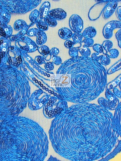Circular Sequins London Lace Fabric / Royal Blue / Sold By The Yard Closeout!!!