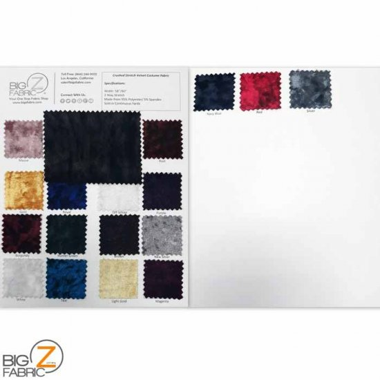 Crushed Stretch Velvet Costume Fabric - COLOR CARD