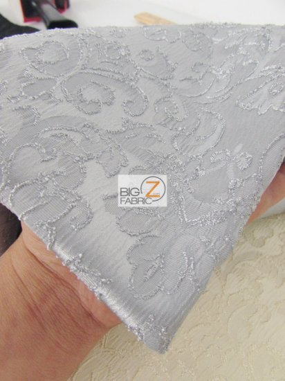 Damask Brocade Crepe Satin Fabric / Silver / Sold By The Yard