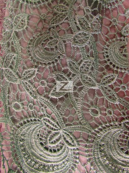 Floral Bib Guipure Venice Chemical Lace Fabric / Aqua / Sold By The Yard