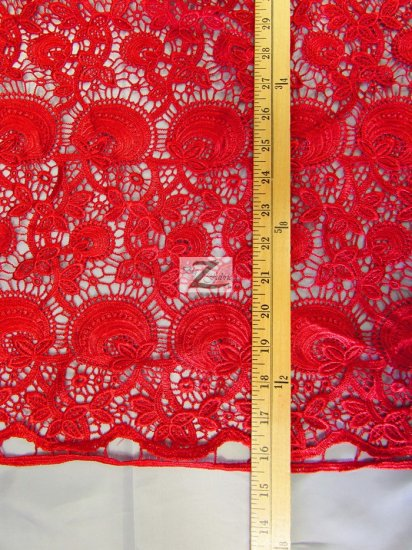 Floral Bib Guipure Venice Chemical Lace Fabric / Brown / Sold By The Yard
