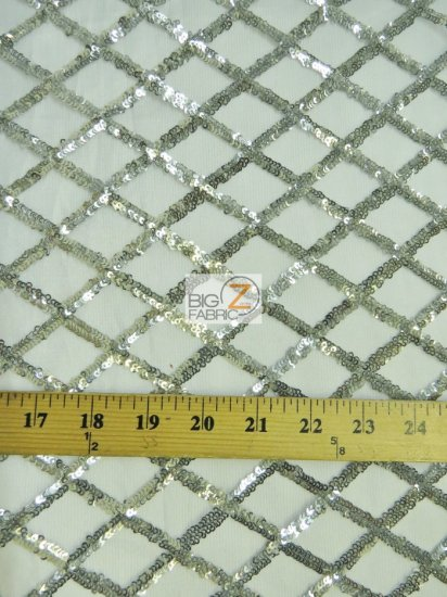 Golden Diamond Sequins Dress Fabric / Silver / Sold By The Yard