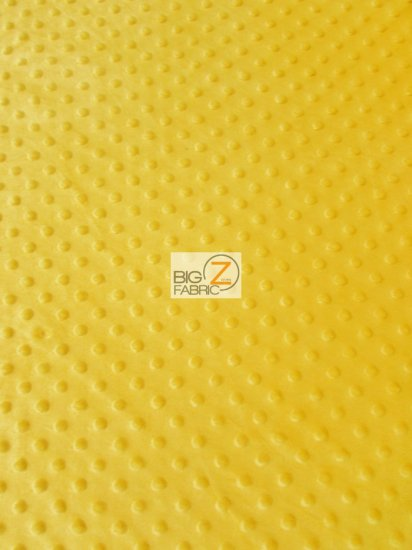 Minky Dimple Dot Baby Soft Fabric / Canary Yellow / Sold By The Yard