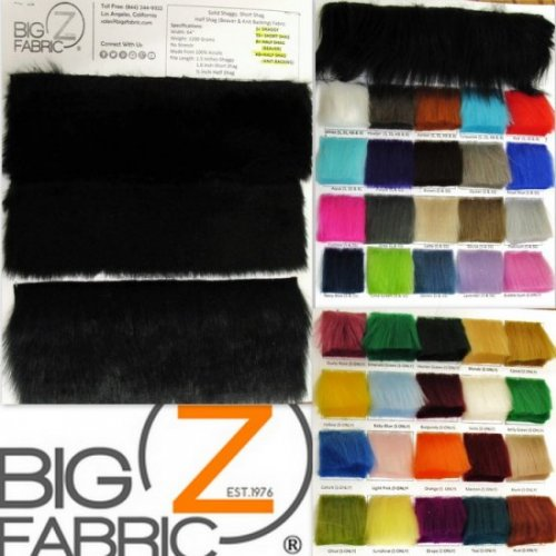 EcoshagTM Faux Fake Fur Solid Shaggy Long Pile Fabric - Big Z Color Card