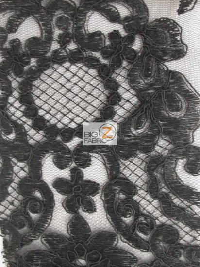 England Fashion Floral Lace Fabric / Black / Sold By The Yard
