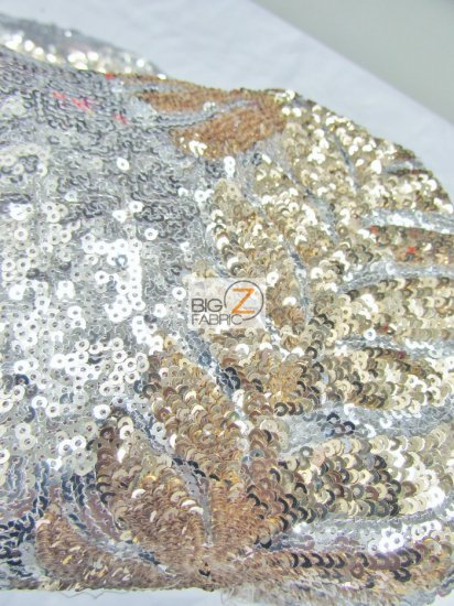 Elsa Floral Sequins Mesh Fabric / Silver/Royal Blue / Sold By The Yard