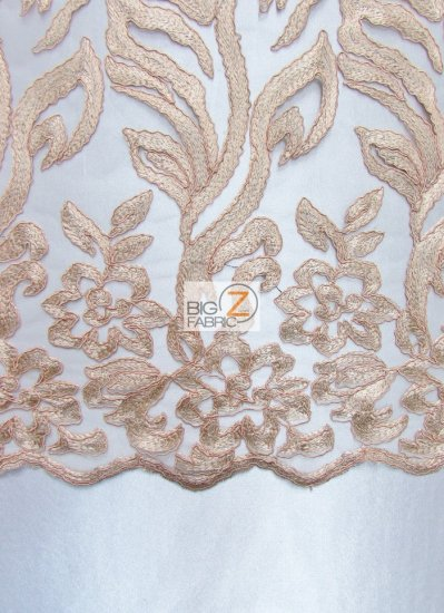 Exquisite Garden Floral Lace Mesh Fabric / Beige / Sold By The Yard