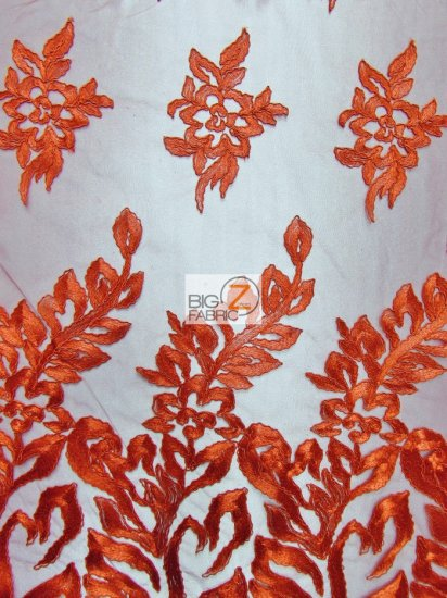 Exquisite Garden Floral Lace Mesh Fabric / Red / Sold By The Yard