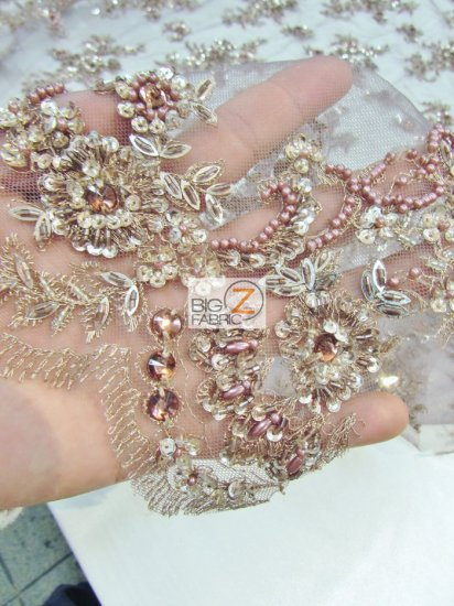 European Style Gem Hand Beaded Sequins Dress Fabric / Pink / Sold By The Yard