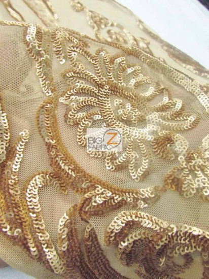 Empire Sequins Royal Dress Fabric / New Khaki / Sold By The Yard