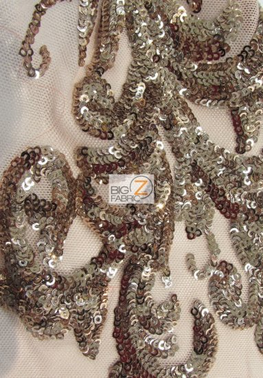 Empire Sequins Royal Dress Fabric / Khaki / Sold By The Yard