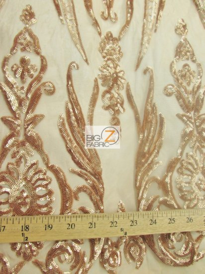 Empire Sequins Royal Dress Fabric / Peach / Sold By The Yard