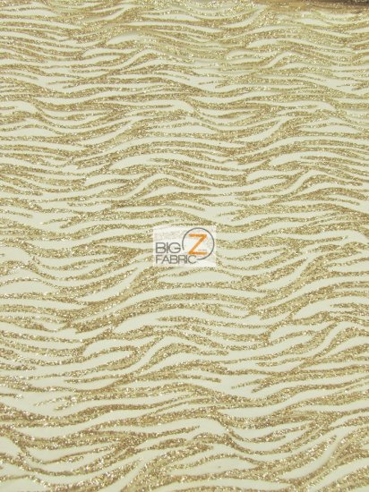 Exotic Tiger Glitter Stripes Mesh Fabric / Champagne / Sold By The Yard