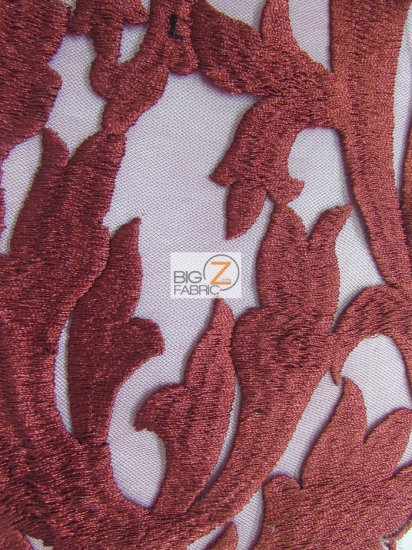 Flaming Cocktail Evening Dress Lace Fabric / Burgundy / Sold By The Yard