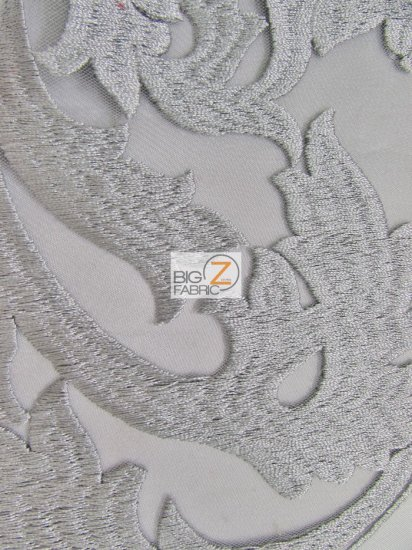 Flaming Cocktail Evening Dress Lace Fabric / Silver / Sold By The Yard