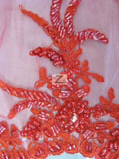 Floral Diamond Hand Beaded Sequin Mesh Fabric / Coral / Sold By The Yard