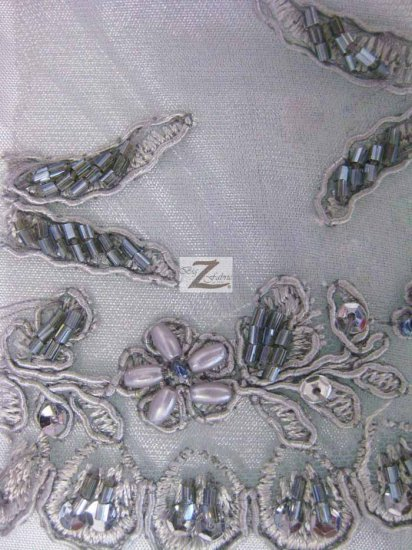 Floral Diamond Hand Beaded Sequin Mesh Fabric / Gray / Sold By The Yard