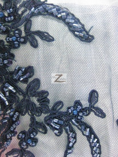 Floral Diamond Hand Beaded Sequin Mesh Fabric / Navy Blue / Sold By The Yard