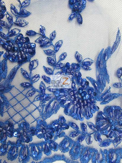 Floral Gem Hand Beaded Sequins Mesh Fabric / Royal Blue / Sold By The Yard