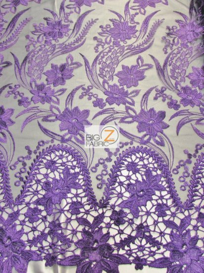 Flower Evolution Guipure Lace Fabric / Purple / Sold By The Yard