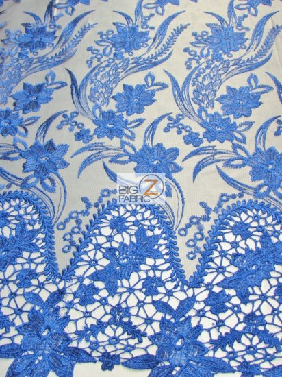 Flower Evolution Guipure Lace Fabric / Royal Blue / Sold By The Yard