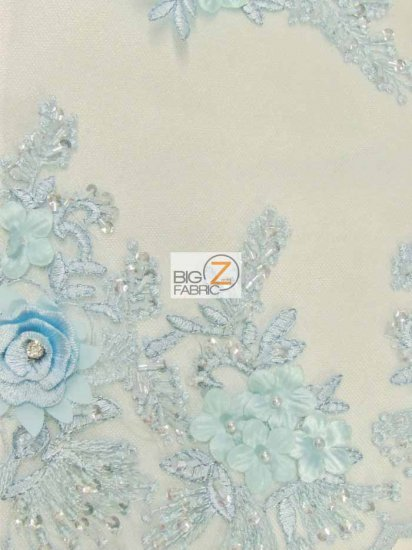 French Floral 3D Beaded Sequins Fabric / Baby Blue / Sold By The Yard