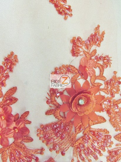French Floral 3D Beaded Sequins Fabric / Red / Sold By The Yard