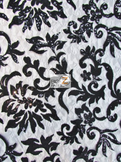 Floral Fashion Eternity Dress Sequins Lace Fabric / Black / Sold By The Yard