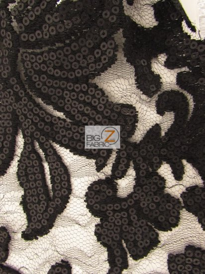 Floral Fashion Dress Gowns Sequins Lace Fabric / Black / Sold By The Yard