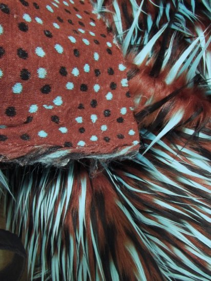 Faux Fake Fur 3 Tone Spiked Shaggy Long Pile Fabric / Black Green on Brown / Sold By The Yard