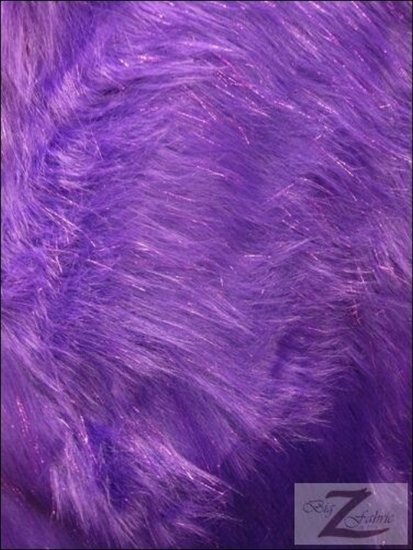 Faux Fake Fur Solid Shiny Tinsel Long Pile Fabric / Purple / Sold By The Yard